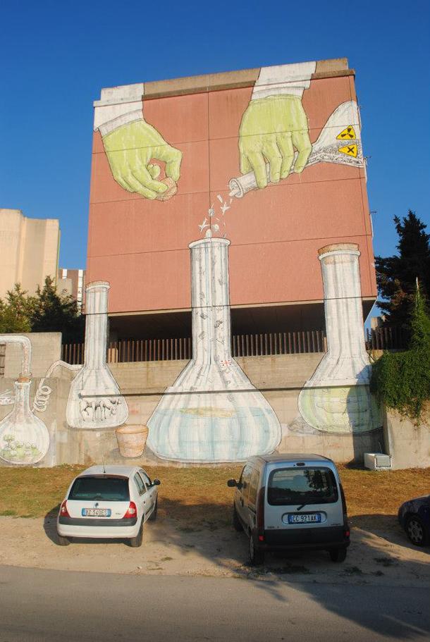 Moneyless, Ericailcane and BLU - New Murals in Sassari