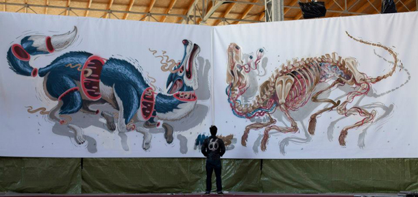 Nychos - New Mural at Sneakerness 2012 in Vienna
