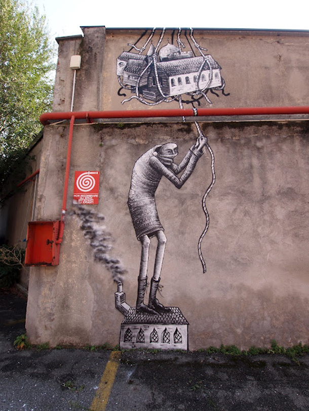 Phlegm - New Mural in Torino and Drawings