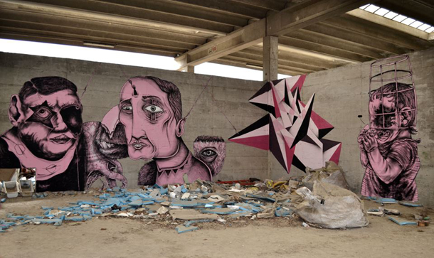 Centina x SeaCreative x Kraser x Vine x James Kalinda - New Mural in Milan