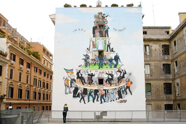 """Ozmo – """"Voi Valete più di Molti Passeri"""" Mural at MACRO Museum"""