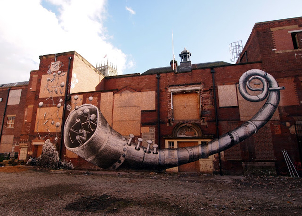 Phlegm - New Mural in Doncaster
