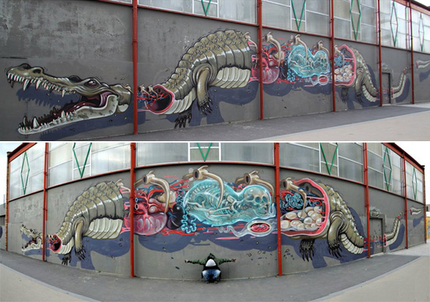 "Nychos - ""Dissection of an alligator"" Mural in Vitry sur Seine"