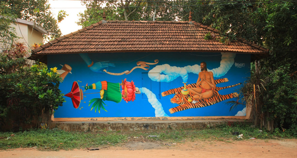Interesni-Kazki–Sadhu-New-Mural-in-Varkala-India-by-Waone-01