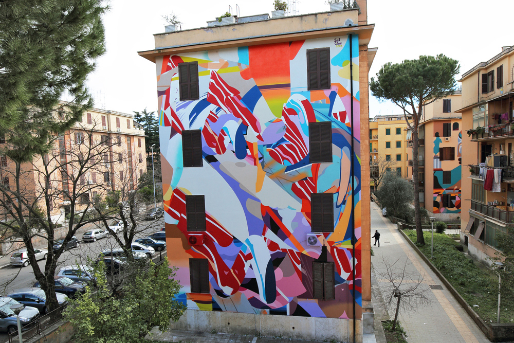 SatONE – New Mural in Tor Marancia, Rome