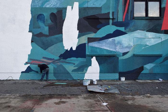 """Mural im Rahmen der Ausstellung """"Unterm Nebel"""", Urban Spree Galerie, Berlin"""