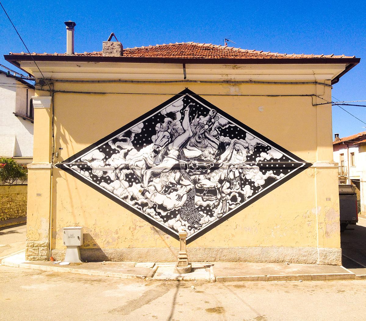 Luca Zamoc Street Art Aielli Borgo Universo