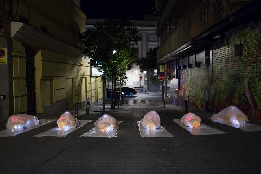 Luzinterruptus  Look before you cross installation Madrid